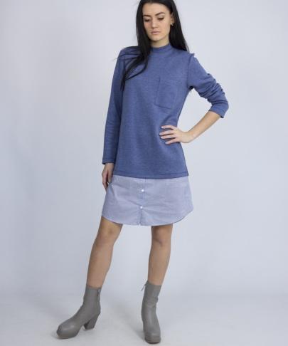 Платье синее с вставкой
