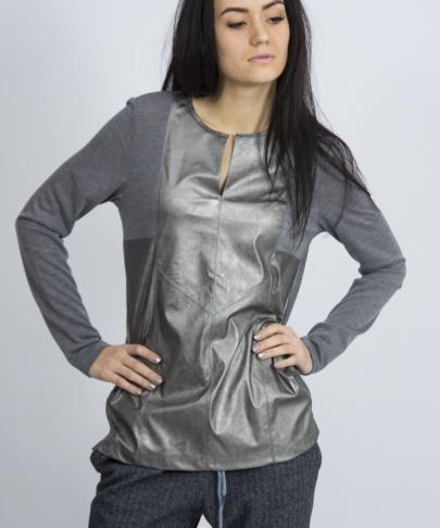 Блуза кожа c трикотажем