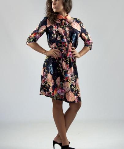 Платье с контрастным воротником